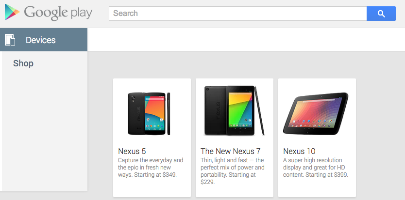 Nexus 5 listing