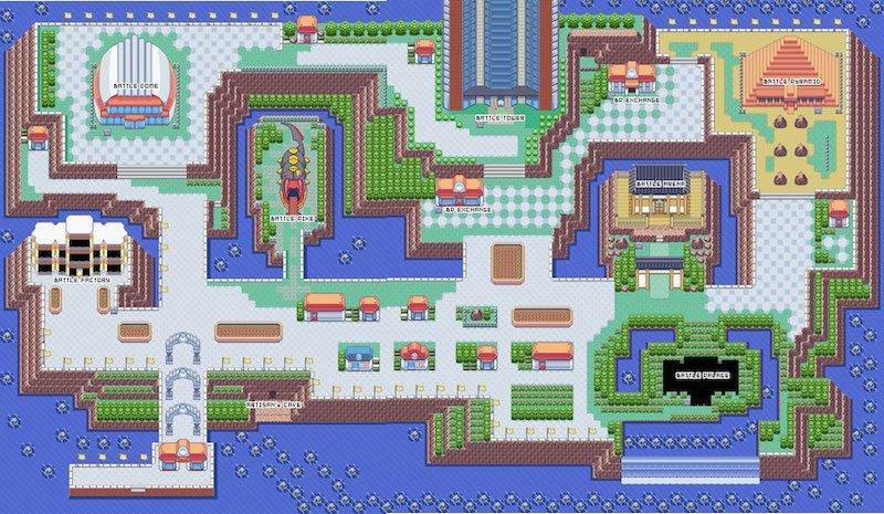 Pokemon Emerald battle frontier map