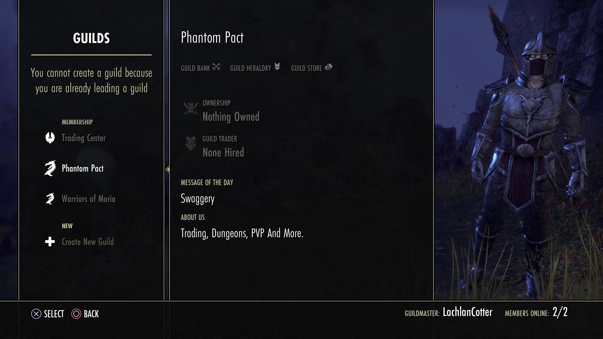 Trading system in eso