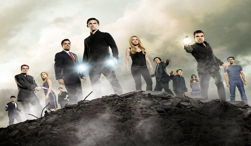 HEROES -- Pictured: (l-r) James Kyson Lee Ando Masahashi, Jack Coleman as H.R.G., Ali Larter as Niki Sanders, Christine Rose Angela Petrelli, Adrian Pasdar as Nathan Petrelli, Milo Ventimiglia as Peter Petrelli, Hayden Panettiere as Claire Bennet, Masi Oka as Hiro Nakamura, Greg Grunberg as Matt Parkman, Dania Ramirez as Maya Herrera, Zachary Quinto as Sylar, Sendhil Ramamurthy as Mohinder Suresh -- NBC Photo