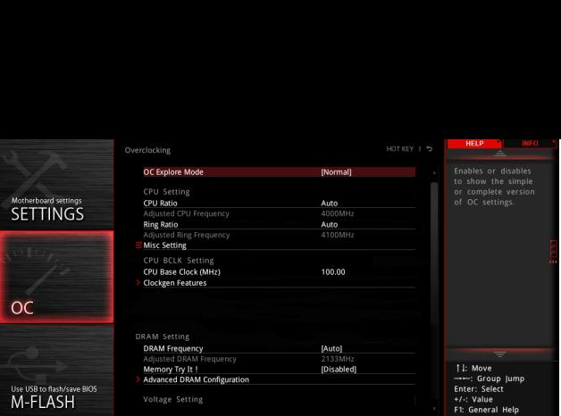 The Click Bios 5 OC menus are simple.
